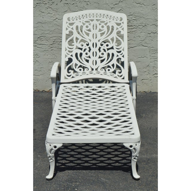 Quality Pair Cast Aluminum Patio Chaise Lounges For Sale - Image 4 of 13