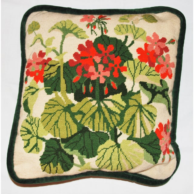 Vintage Geranium Needlepoint Pillow - Image 2 of 6