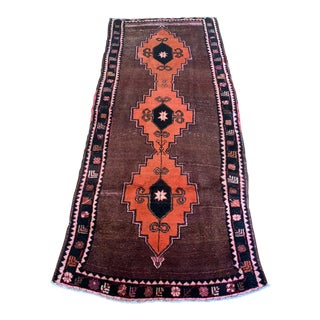 Turkish Brown and Electric Pink Wool Rug - 4′4″ × 9′8″ For Sale