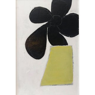 Sarah Trundle Abstract Black and Chartreuse Flower Painting For Sale