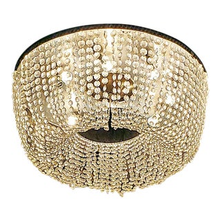 Art Deco Style Crystal Flush Mount Chandelier With Provenance For Sale