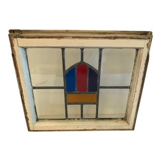 Antique European Stained Glass Window For Sale