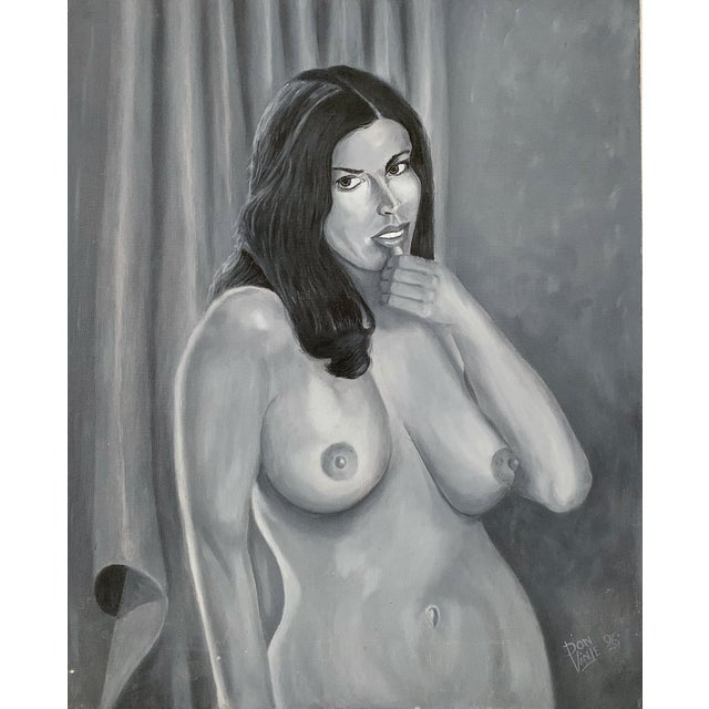 Vintage Oil on Canvas Nude Woman Painting in excellent condition.