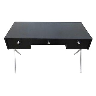 Custom Mid Century Black & White X Base Writing Desk For Sale