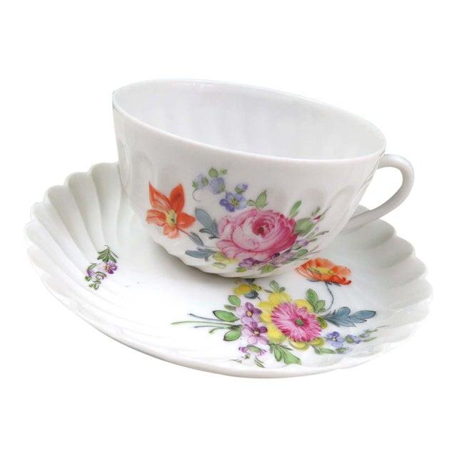 Vintage Nymphenburg Dresden Flowers Tea Cup & Saucer Set - Image 1 of 10