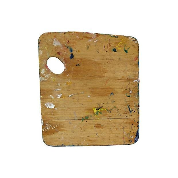 French artist oil paint palette with typical impressions style colors. Colorful, textured piece. No maker's mark. Light wear.