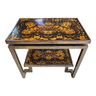 Mastercraft Style Brass, Faux Tortoise Console Table For Sale
