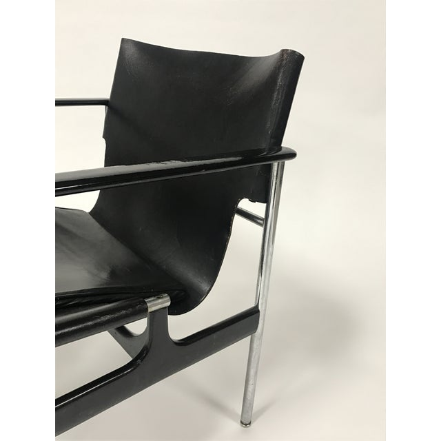 Knoll Charles Pollock for Knoll Black Leather Sling Chairs - a Pair For Sale - Image 4 of 9