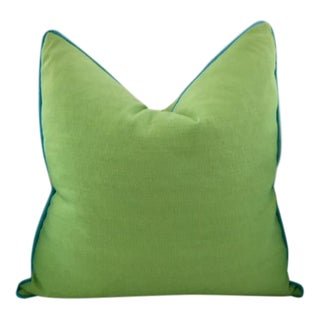 Lime Green With Turquoise Contrast Welt Pillow For Sale