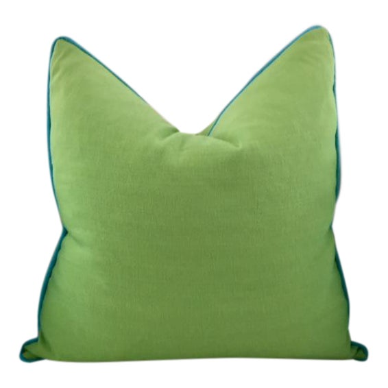 Lime Green With Turquoise Contrast Welt Pillow - Image 1 of 6