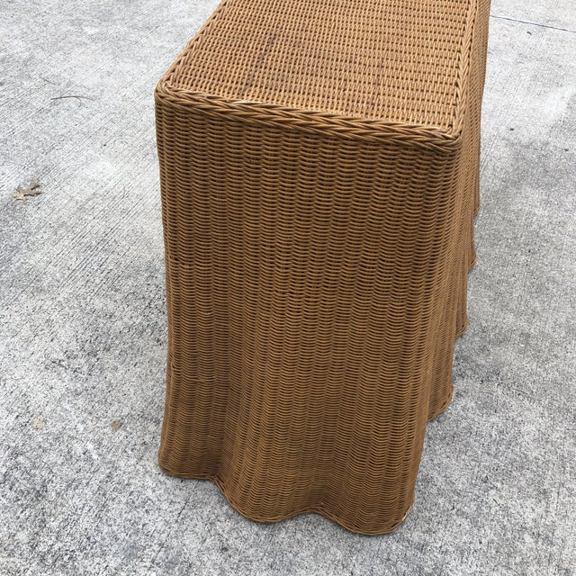 Brown 1970s Boho Chic Trompe L'oeil Rattan Skirted Console Ghost Table For Sale - Image 8 of 9
