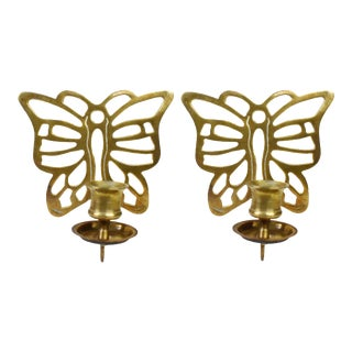 Vintage Brass Butterfly Wall Mounted Sconce Candlestick Candle Holders - a Set For Sale