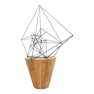Modernist Welded Rod Sketch - Post Modern Abstract Geometric Sculpture For Sale