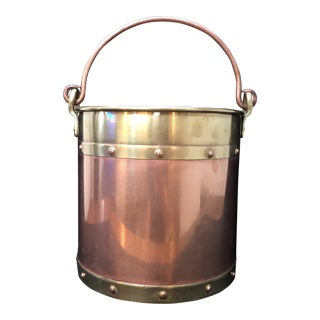 Antique Copper and Brass Pot Caldron With Dovetail Handle For Sale