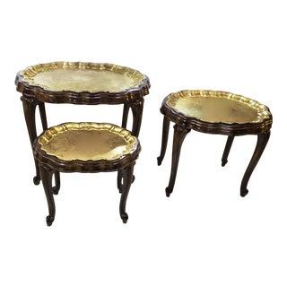 Vintage Mid Century Elegant Carved Wood Nesting Tables- Set of 3 For Sale