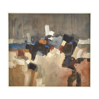 Abstract Painting of Browns and Blues in White Frame by Malcolm Chandler For Sale