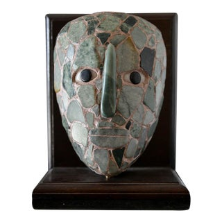 Vintage Mayan Style Jade Funeral Mask For Sale