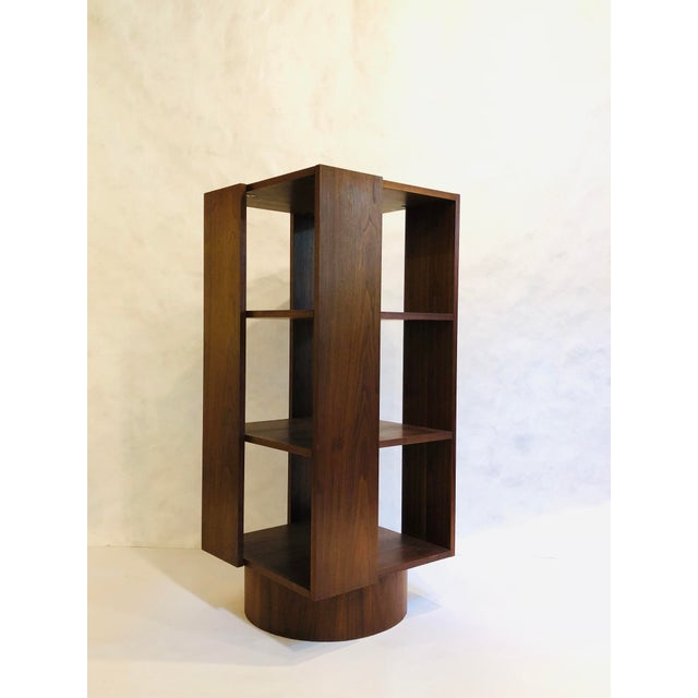 Revolving Walnut Bookcase For Sale - Image 9 of 9