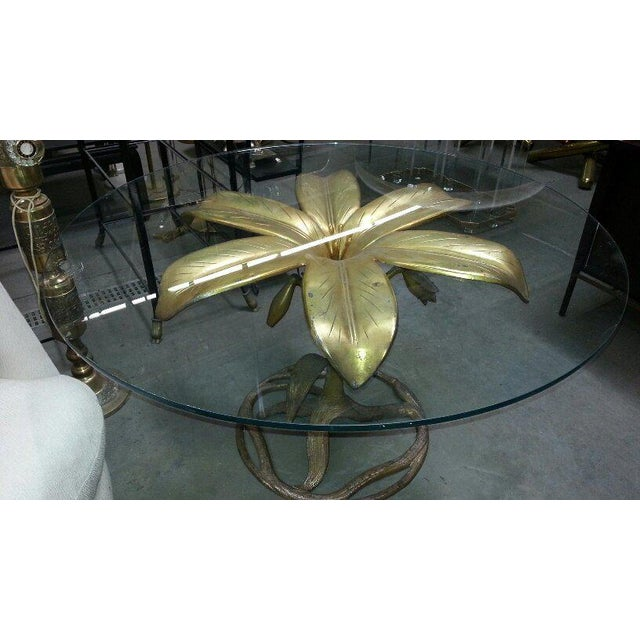 Arthur Court vintage 1970s Lily dining table. Midcentury gilt aluminum lily dining table designed and produced by Arthur...