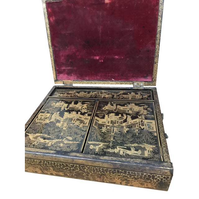 Chinoiserie 19th Century Chinoiserie Black Lacquer Box in the Form of a Book For Sale - Image 3 of 5