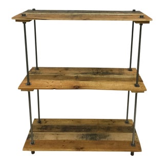 Industrial Style 3-Shelf Pallet Wood Adjustable Bookcase For Sale