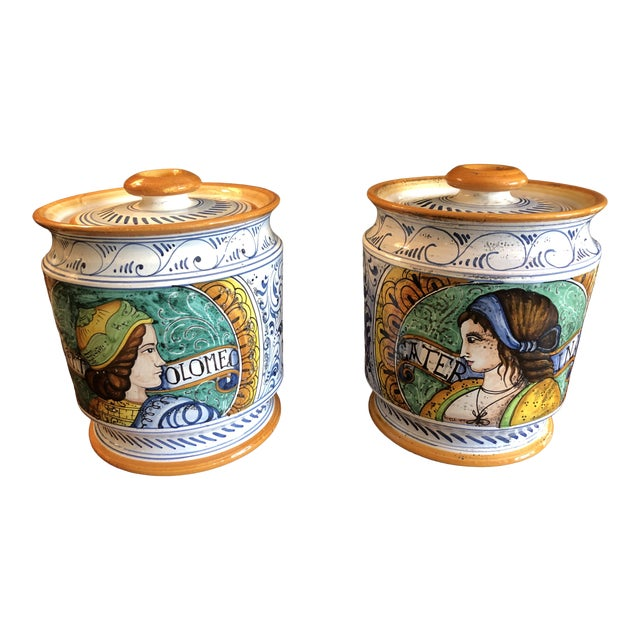 Provencal Ceramic Painted Lidded Apothecary Jars -A Pair For Sale