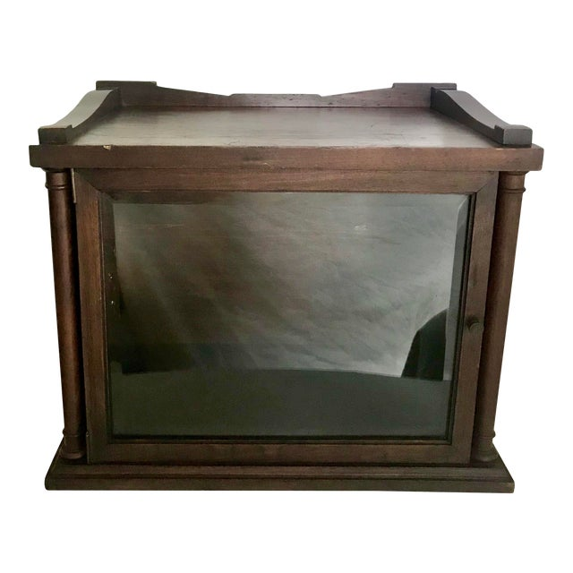 Antique Wood and Glass Display Cabinet For Sale