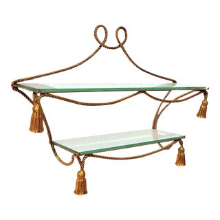 Italian Gilt Rope Form Hanging Etagere