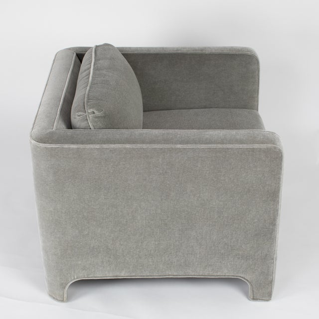 Gray Pair of Fully Upholstered Club Chairs in Gray Mohair by Interior Crafts, Circa 1980s For Sale - Image 8 of 13