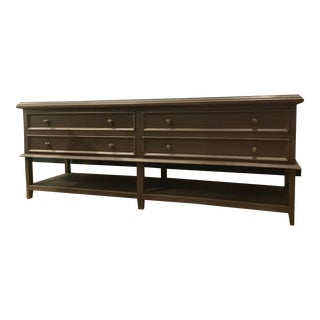 Modern Gray Wood Four Drawer Console Table For Sale