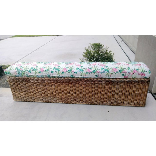 Vintage Wicker Heavy Duty Newly Custom Upholstered Hall End of Bed Bench Seat For Sale - Image 11 of 11