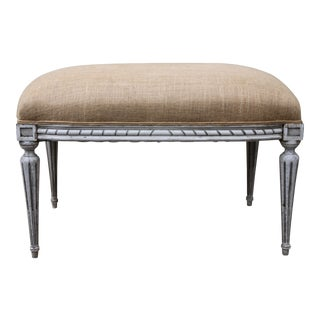 Louis XVI Style Painted Bench With Burlap Upholstery