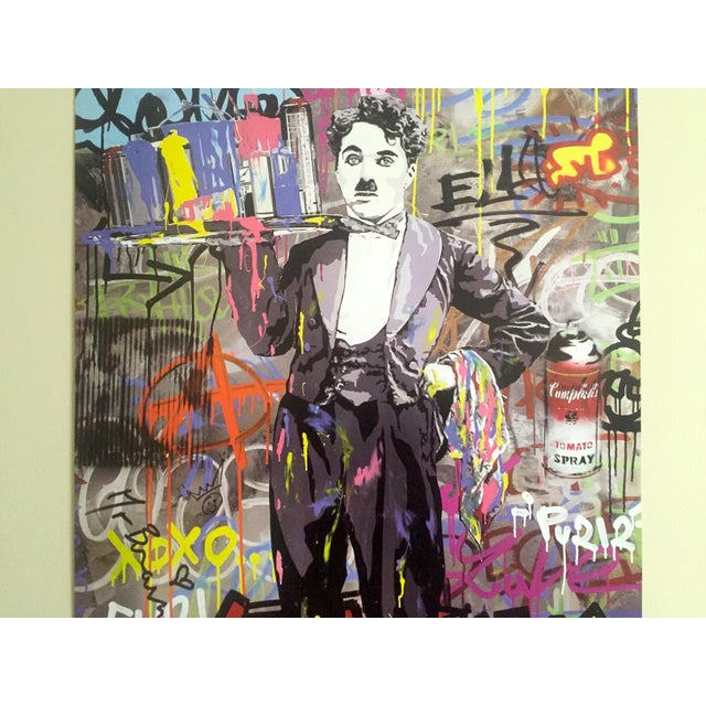 "Various Artists Mr. Brainwash "" Charlie Chaplin "" Original Lithograph Print Pop Art Poster For Sale - Image 4 of 11"
