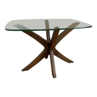 1960s Mid-Century Modern Adrian Pearsall Walnut and Glass Jacks Side Table For Sale