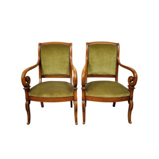Pair of Antique Biedermeier-Style Fauteuil Armchairs With Nailhead Trim For Sale