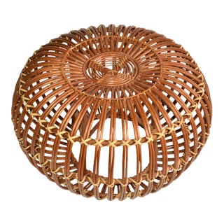 Franco Albini Style Handwoven Rattan / Wicker Ottoman, Pouf, Footstool Italy 60s For Sale