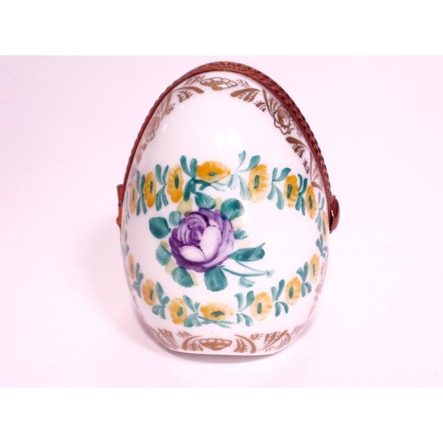 Limoges, France Limoges France Hand Painted Egg Locket Box For Sale - Image 4 of 4