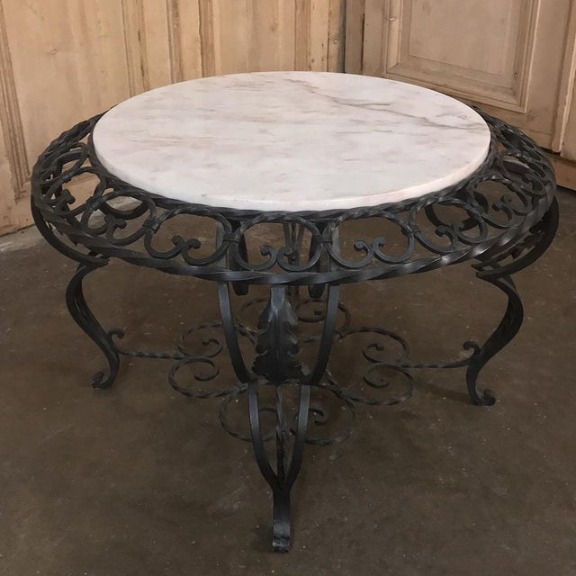 French Mid-Century French Wrought Iron Marble-Top Coffee Table For Sale - Image 3 of 12