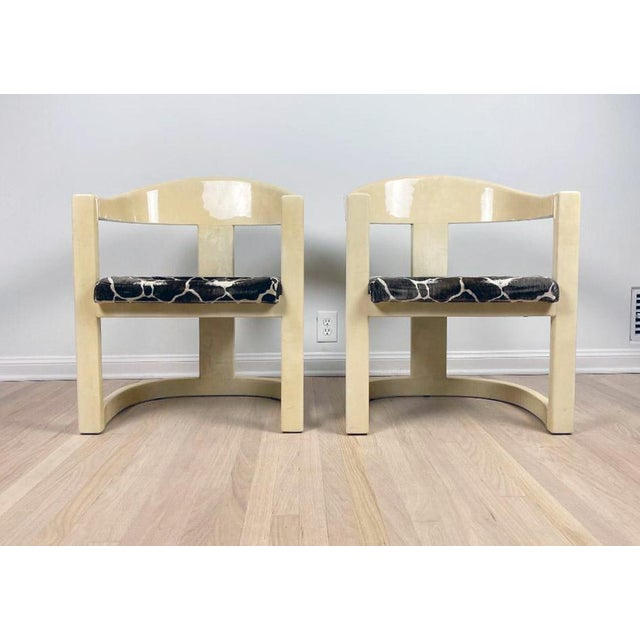 Karl Springer Onassis Goatskin Chairs - a Pair For Sale In Los Angeles - Image 6 of 6