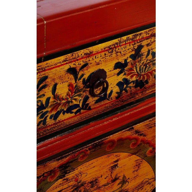 Mongolian Late 1800s Hand-Painted Red Lacquer Cabinet with Black and Gold Décor For Sale - Image 4 of 6