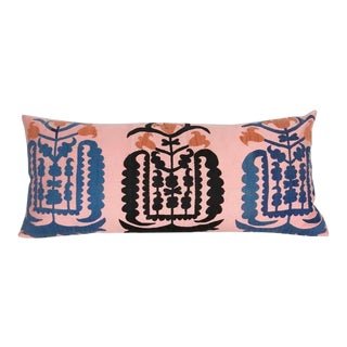 Soft Pink Vintage Embroidered Taskent Lumbar Pillow For Sale