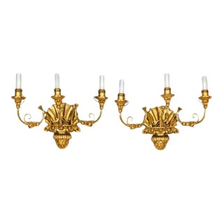 Pair of Biedermeier Giltwood Three-light Sconces For Sale
