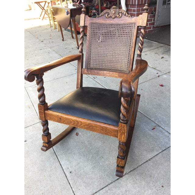 Antique Leather Cane Rocking Chair Chairish - Antique Rocking Chair With Leather Seat - Image Antique And Candle