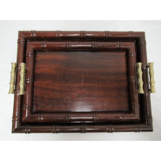 1990s Vintage Bombay Company Faux Bamboo Stacking Trays - A Pair For Sale - Image 4 of 12