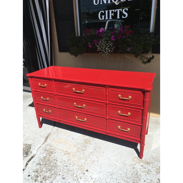 1970s 1970s Vintage Henry Link Red Lacquered Faux Bamboo Dresser For Sale - Image 5 of 6