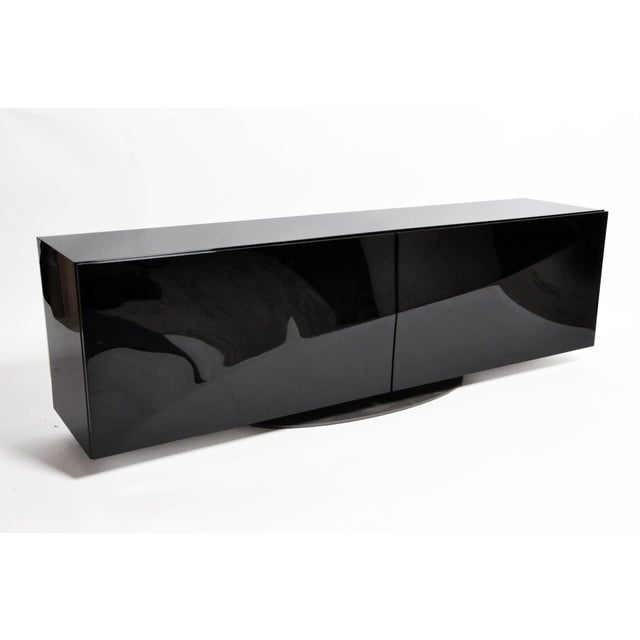 Contemporary 1980s Black Lacquer Console With Sliding Doors For Sale - Image 3 of 13