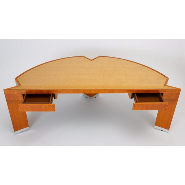 """Metal Custom Lacewood """"Mezzaluna"""" Desk by Pace Collection For Sale - Image 7 of 13"""