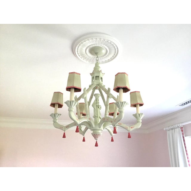 Chic Chinoiserie 6-Arm Chandelier For Sale - Image 11 of 11
