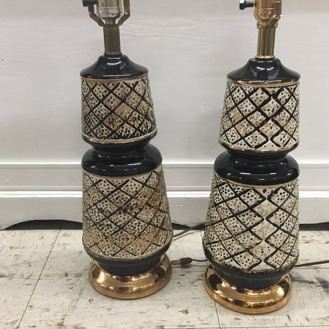 Vintage 50's Ceramic Lamps -Pair For Sale - Image 12 of 13