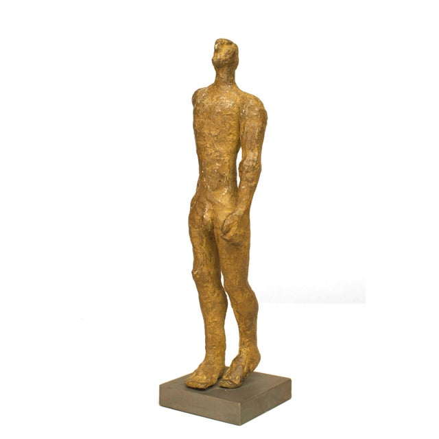 "2000 - 2009 American Carol Bruns Gold Patinated Bronze ""Exiting Man"" Sculpture C. 2000 For Sale - Image 5 of 6"
